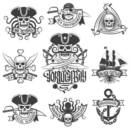 cocked hat: Corsair logo set in vintage style. Tattoos with pirate skulls.