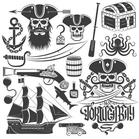 pirate treasure: Set of elements for creating pirate logo or tattoo. An example of a pirate skull logo. Skull, tricorn, anchor, saber, old gun, barrel, chest, ship, octopus and more.