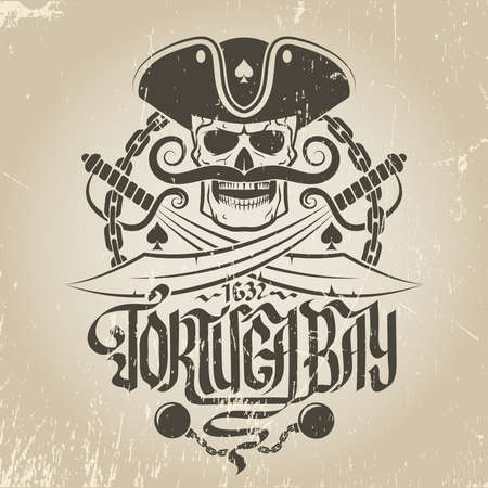 Pirate logo with a skull in a cocked hat and with a mustache. Jolly Roger with sabers, chains and calligraphic inscriptions. Scrapes and background are grouped separately, and can be easily removed.
