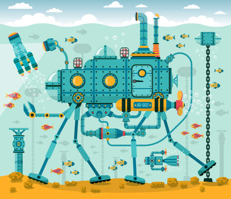 industrial complex: Fantastic underwater machine on four legs with arms - resembling a submarine. Machine, sky, water, sea bottom, fish on different layers.
