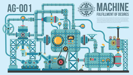 A complex industrial machine of pipes, cables, motors, buttons, gauges, pumps and so on. The machine of wish fulfillment. Illustration