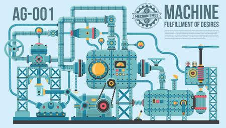 Une machine industrielle complexe de tuyaux, câbles, moteurs, des boutons, des jauges, des pompes et ainsi de suite. La machine de réalisation d'un souhait.