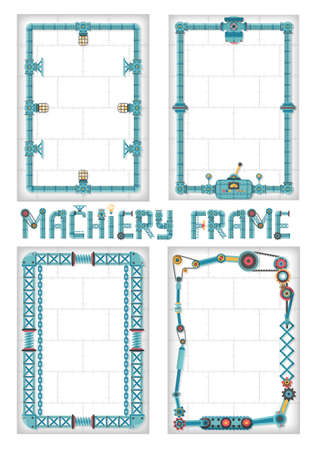 machine parts: The vertical frame in the style of steampunk. Frame for text of the tubes, machine parts, metal structures.