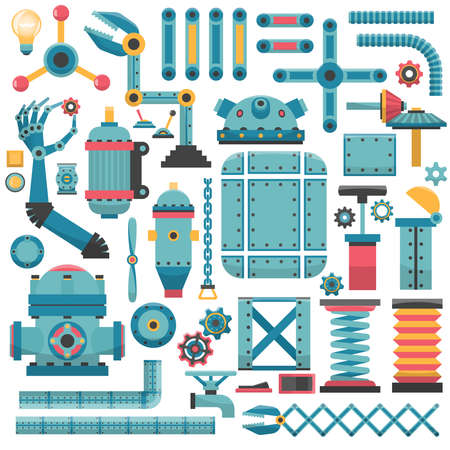 metal parts: Set of parts for a machine or a robot. The metal parts and assemblies. Illustration