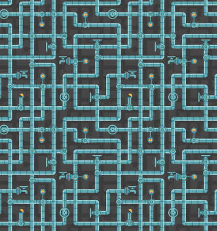interlocking: Seamless pattern of interlocking pipes with valves, adapters, vents, manometers on a dark background. Steampunk pattern.