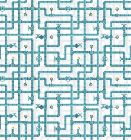 Seamless pattern of interwoven water pipes. Plumbing pattern.