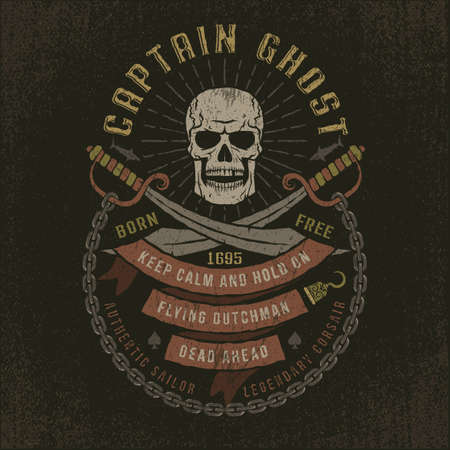 Emblem with a pirate skull in grunge style. Well suited to a T-shirt. Textures and text on separate layers. Ilustração Vetorial
