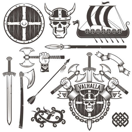 The coat of arms of the Vikings. Coat of Valhalla. The emblem with skull Viking in a horned helmet, ax, sword and shield. Set Viking items. Drakkar. The hand with an ax. Stock Illustratie