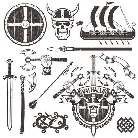 Het wapen van de Vikingen. Coat of Valhalla. Het embleem met schedel Viking in een gehoornde helm, bijl, zwaard en schild. Stel Viking items. Drakkar. De hand met een bijl. Stock Illustratie