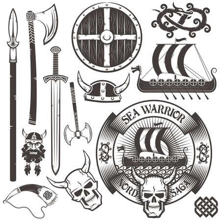 drakkar: Set for Viking icon. Viking emblem with drakar.