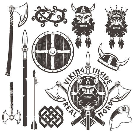 バイキング戦士頭、軸交差、槍と盾のアイコン。バイキングの紋章の要素のセットです。
