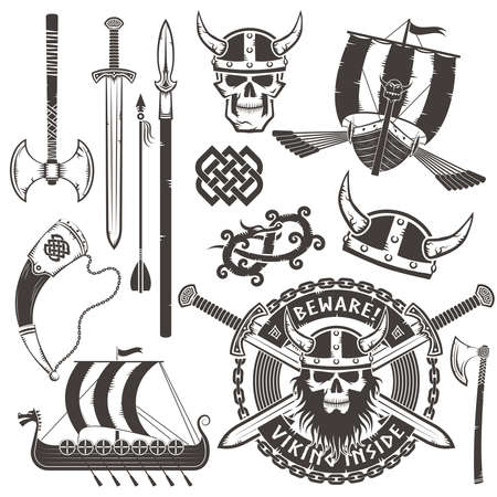 Set Viking elements. Emblem with skull viking in a horned helmet.