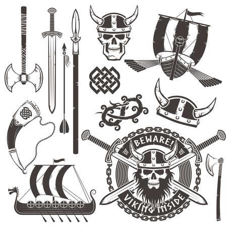 drakkar: Set Viking elements. Emblem with skull viking in a horned helmet. Illustration