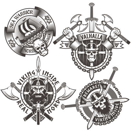 Set of 4 original Viking emblems. The icons on the theme of the Scandinavian warriors.