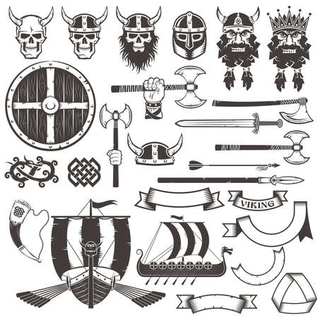 Set of viking weapons and items. Stock Illustratie