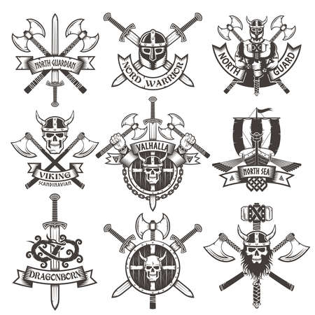 Viking icons Set in vintage style. Emblems with skulls and axes.