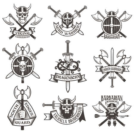 crossed swords: Viking icon set. Skull in a horned helmet, the skull with a beard, the head Viking crossed axes, crossed swords, viking helmet, shield Viking hand with an ax, a dragon. Icons can be easily disassembled into separate items.