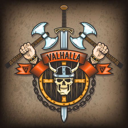 Coat of Valhalla. Vikings sign with a skull in a horned helmet on the background of the shield with axes and hand. All textures are on separate layers. 일러스트