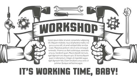 Flyer template for the workshop. Hand holding a hammer. Mechanics Tools.