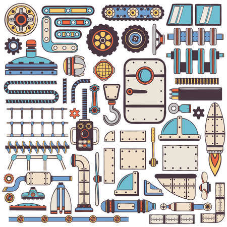 mechanical radiator: Doodle steam punk spare parts set for machinery construction.