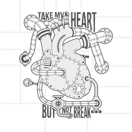 Mechanical heart Image in steampunk style. Heart motor vintage lettering. Background, fill, stroke, hatching and text on separate layers. Full editable vector illustration.