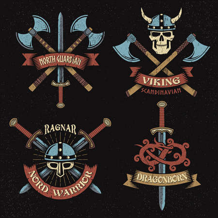 Scandinavian vikings icon set. Emblems with viking weapons. It can be disassembled into separate elements. Background texture on separate layers. Stock Illustratie