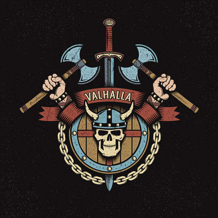 Viking Coat of arms with axes and skull in a horned helmet. Emblem of Valhalla. Background texture on separate layers.