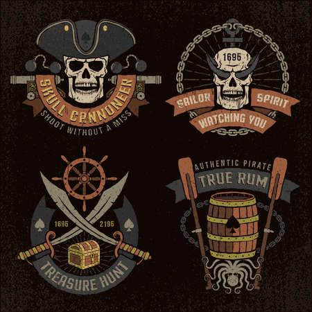Emblema pirata con calaveras y textura grunge. texto, fondo y textura grunge en capas separadas.