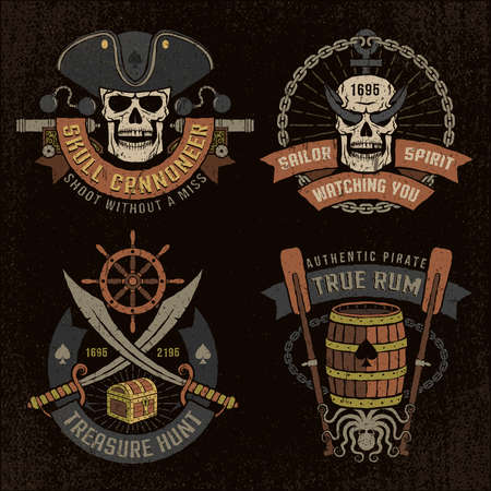 Pirate emblem with skulls and grunge texture.  text, background and grunge texture on separate layers. Stock Vector - 63580841