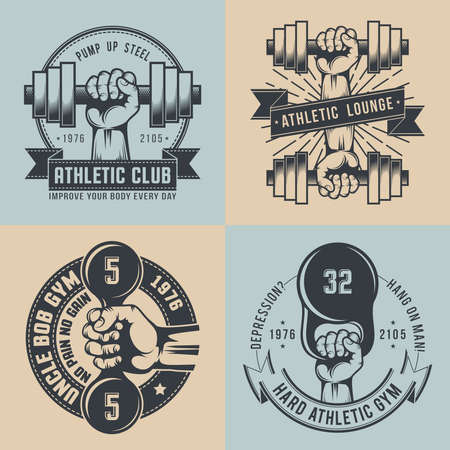 hand with dumbbell: Gym in vintage style. Hand with dumbbell, hand with kettlebell - hard athletic. Crossfit