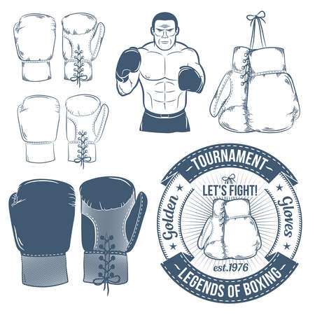 attributes: Boxing gloves, boxer, boxing. Boxing attributes  in retro style. Hanging boxing gloves.