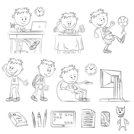 doings: What does a teenager - outline drawings. Teenager working with a laptop. Boy having breakfast. Boy playing soccer. Teenager calling on the phone. Tired boy. Boy watching TV. Items teenager.