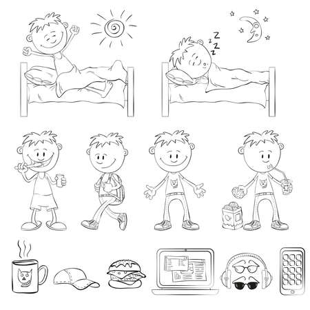 smart boy: Boy draw the outline of a sketch style. The boy wakes up, sleeping in the bed. Boy brushing his teeth, comes with a backpack, drinking a cocktail with cookies. Objects student: mugs, caps, sandwich, laptop, headphones, glasses, smart phone.