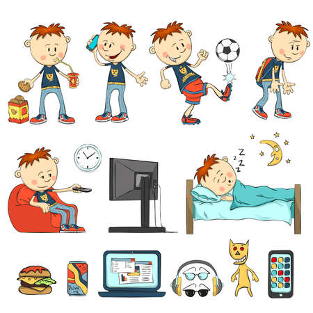 eats: Boy in different situations. Schoolboy eats, drinking cocktail, have a cookie. Boy talking on the phone, playing football, watching television sitting in a chair, talking wearily. Boy sleeps. Fast Food, beverage cans, laptop, headphones, glasses, smartpho