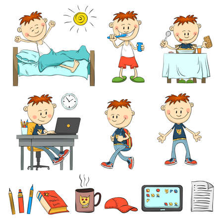 pape: Boy during the day. What does an ordinary schoolboy. The boy wakes up, brushes his teeth, eat breakfast, studying for the laptop comes with a backpack. Items pupil: pencil, book, cap, tablet, sheet of paper, a mug. Color illustration from the hand.