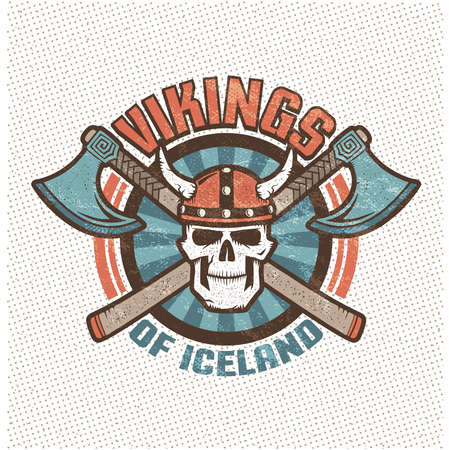 iceland viking skull in a horned helmet and crossed axes. Brutal warrior mascot sports team in old school retro style. Background, texture, sign and text on separate layers.