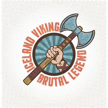 axe: Iceland viking, emblem, mascot in vintage style - a warrior hand is holding a two-edged ax. Textures and background on separate layers. Illustration