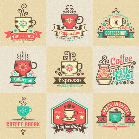 coffee cups: coffee cups, banners and ribbons. Illustration