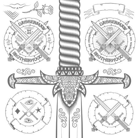 pull out: Vintage design with ornate daggers. Set of elements for retro emblem with daggers, roses, ribbons. Big dagger possible to pull out entirely from the clipping mask.