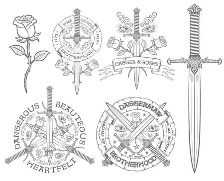 Retro embleem met een dolk en roos. Vintage, daggers, rozen, heraldische linten. Ideaal voor tatoeages en t-shirt print. Tekst kan gemakkelijk met jezelf vervangen worden. Stock Illustratie