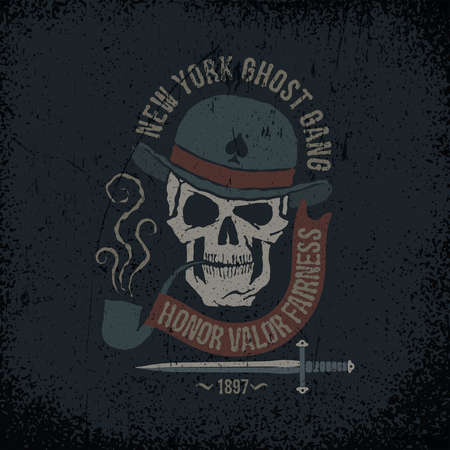 Gangster grunge with a skull in a bowler hat, with a pipe, dagger and banner. Textures on separate layers - easily editable.