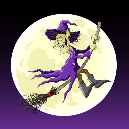 Cartoon witch on a broom flying in the background of the moon. Vector illustration.