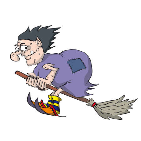 wicked woman: Funny witch flying on a broomstick. Cartoon hag in purple cloak.