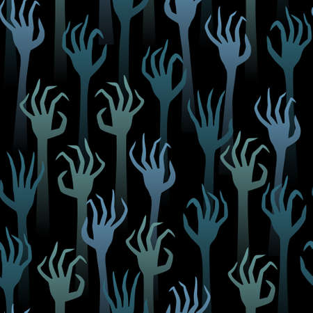 Seamless pattern dead hands on a dark background are drawn up. Suitable for Halloween Decorations.