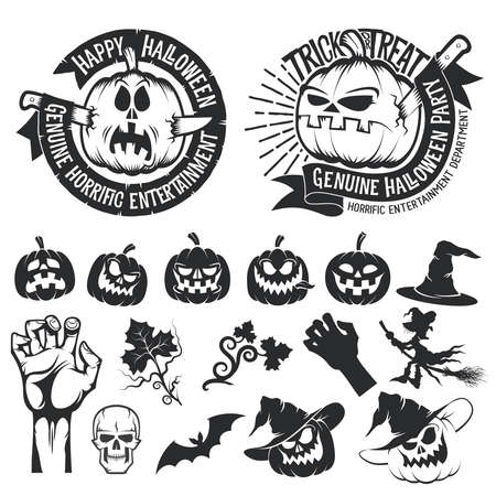 Halloween set of elements, emblems with the pumpkins. Vector Black and white illustration. Vettoriali