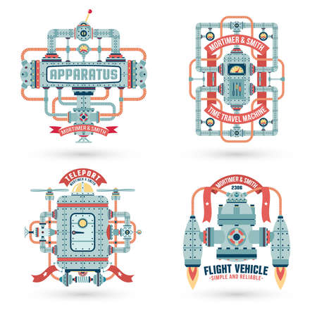 assemblies: Steampunk. Steampunk machinery, machines, assemblies. Intricate engineering devices. Text on a separate layer. Illustration