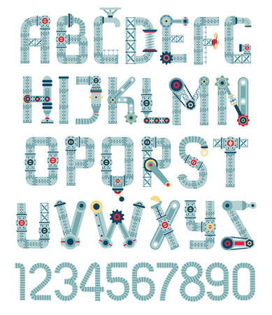 Steampunk alphabet. Letters from spare parts, equipment, pipes.