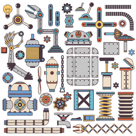 spare parts: Colored machinery components and spare parts with a stroke in doodle style. Illustration