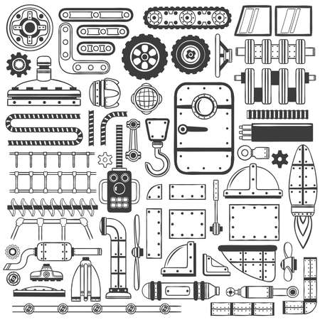 Compilatie van machinedelen, delen van apparaat of machines die in met de hand gemaakte krabbelstijl trekken. Stock Illustratie