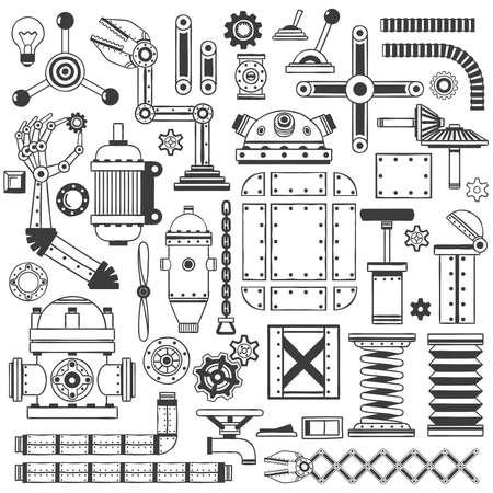 colección de piezas de repuesto para crear máquinas, robots, dispositivos. Hecho a mano en el estilo de dibujo.